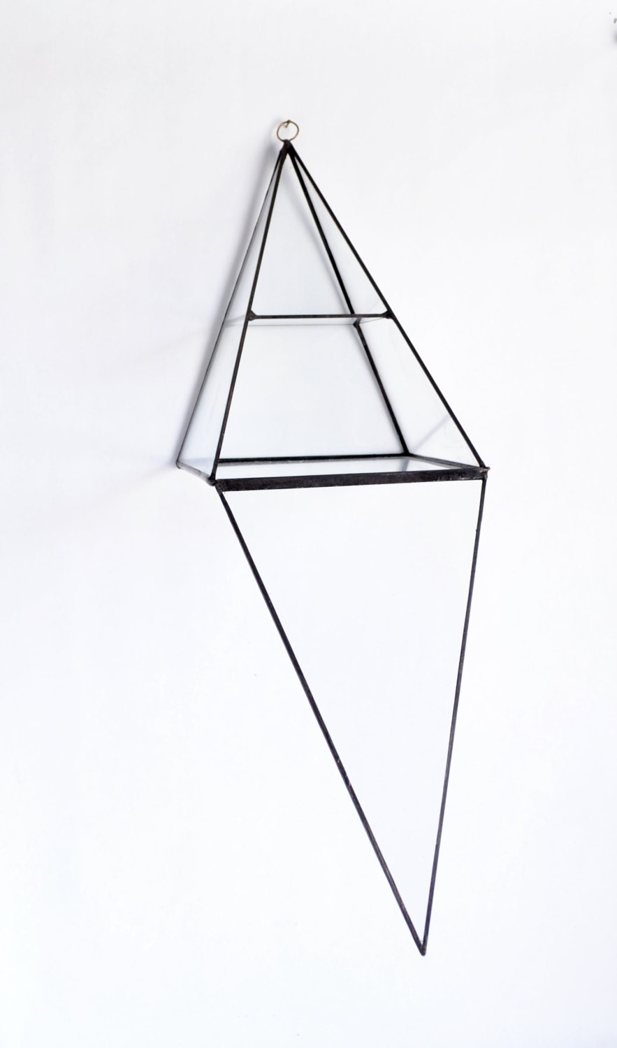 glass box pyramid display box stained glass display box clear