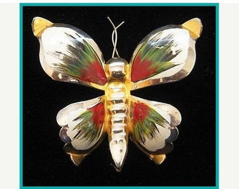"""Butterfly Bug Brooch Pin Red Green White  Enamel Gold Metal 2 3/4"""" Vintage"""