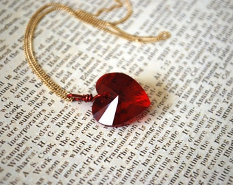 Red Crystal Heart Necklace -- Red Swarovski Crystal Heart, Gold or Silver Chain