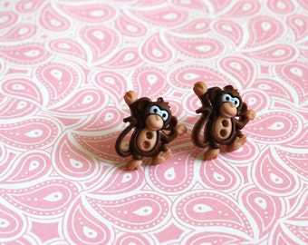 Monkey Earrings -- Brown Monkey Studs, Goofy Monkeys, Monkey Jewelry
