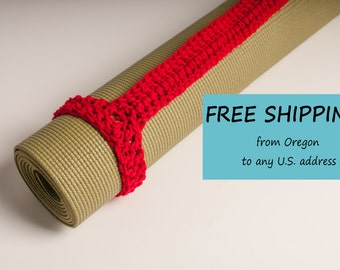 Yoga Mat Strap, Yoga Mat Sturdy Sling Handle - US Shipping Included - Cherry Red, Christmas in July, Original HH Design