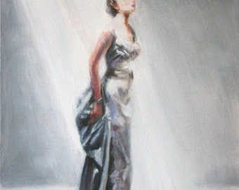 Original Oil Painting: Vintage Fashion Forties Satin Evening Gown