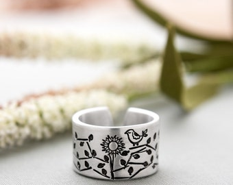 Sunflower Ring - Sunflower and Bird Monogrammed Cuff Ring - Personalized Cuff Ring - Secret Message Ring