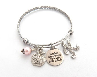 Personalized TEACHER Gift, teacher bracelet, Gifts for Teachers Appreciation, It takes a big heart to teach little minds, End of year gift