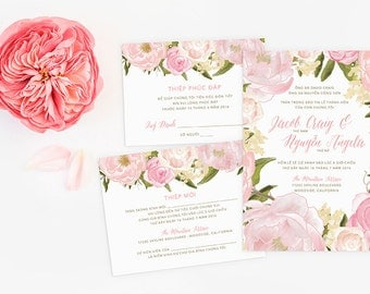 vietnamese wedding invitation reception and rsvp do it yourself blush floral - Vietnamese Wedding Invitation