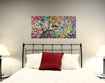 Large Love Birds in Tree Painting Silhouette Acrylic Lovebird Canvas Art Modern Abstract Romance Colorful Over the Bed Decor 18X36 JMichael
