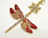 JOYOUS DRAGONFLY Red Sparkling Tree Jewelry Christmas Ornament