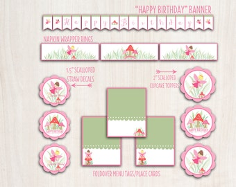 Custom Fairy Party Pack - Fairy Birthday - Woodland Fairy - Pixie Party Supplies - INSTANT DOWNLOAD