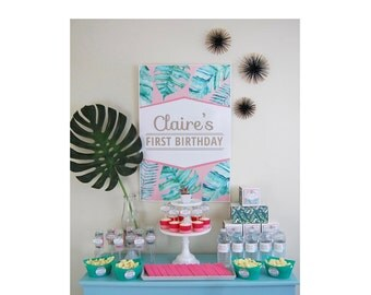 Pink Palm Birthday Party Pack  - Tropical Modern Party Supplies - INSTANT DOWNLOAD