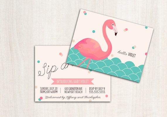 FLAMINGO Sip and See Invitations - Flamingo Shower Invite