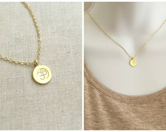Gold Ohm Om Disc Necklace | Om Necklace | Yoga Necklace | Birthday Gift | Minimal Necklace | Everyday Necklace | Gift For Her |