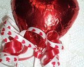 12 Red Foil Wrapped Puffy Heart Shaped Chocolate Valentines Day Wedding Day Engagement Lollipops Party Favors