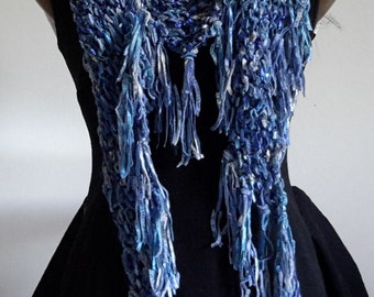 Blue Jeans - Hand Knitted Ladies Shawl