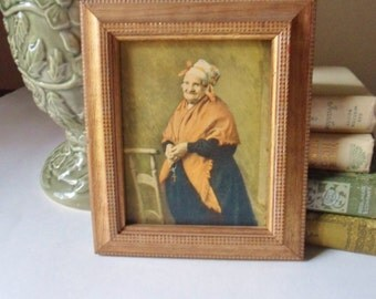 Elderly European Woman with Rosary Beads Picture, C & A Richards Boston Mass Plaque, Sweet Little Old Lady Picture