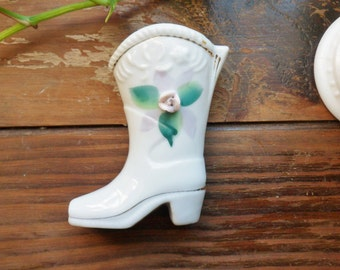 Small Cowboy Boot Vase, White Cowboy Boot with Applied Pink Rose, Miniature Boot Vase