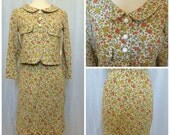 Vintage 1960's Women's 2 Piece Floral Suit // Jackie O // Extra Small