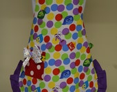Childrens Apron,Baking Apron, Inside Out Movie Apron, Little Girls Ruffled Apron, Ready to Ship size 5-8