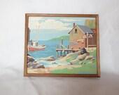 RESERVED Vintage Paint by Number Seaside Landscape Framed