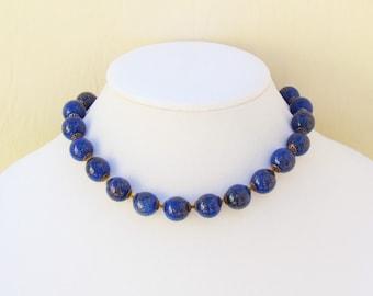 Vintage faux lapis necklace and bracelet, cobalt blue goldstone beads