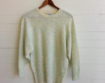 Vintage Spring sweater  . Angora print sweater . size medium / large