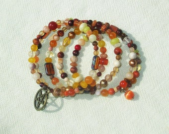 Bronze Wiccan Pentagram Gemstone Memory Wire Wrap Bracelet