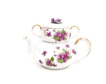 Vintage Lefton Stacking Nesting Tea Set Teapot Sugar Bowl Purple Violets Made in Japan Hand Painted Brushed Gold