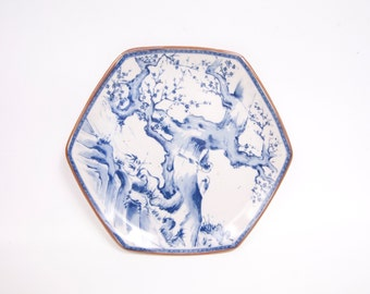 Vintage Dolphin China Dynasty Blue Plate Sakura Tree Birds 6 Sided Made in Japan