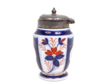 Antique Gaudy Welsh Lidded Mustard Pot IMARI Porcelain Cobalt Flow Blue Hand Painted Blue and Rust ENGLAND Silver Plate EPNS