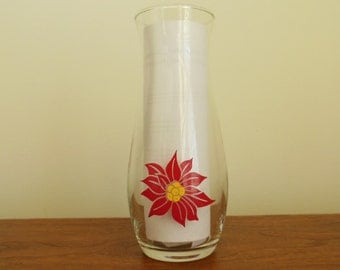 CLEARANCE-Pasabahce Christmas Flower Vase Clear with Red Poinsettia Made in Turkey