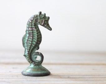 Seahorse vintage mini figurine / metal seahorse pocket totem / boho green seahorse mini figurine / green metal seahorse / marine life decor
