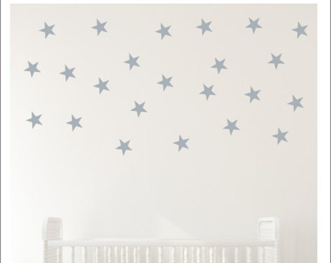 Star Wall Decals Peel and Stick Stars Vinyl Decals Star Decor Nursery Decals Bedroom Stars Accent Wall Stars Gold Wall Decals Silver Stars