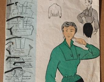 """Vintage French Original Sewing Pattern 1950's Patron Modèle Ladies Blouse Mannequin Size 44 - Bust 38"""" #53502"""