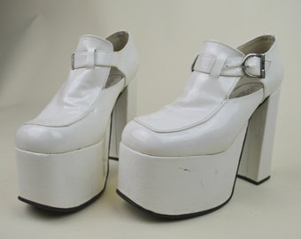 90s Does 70s Clubkid Mod White Patent Faux Leather Shiny One Buckle T Bar Loafer Square Toe Mega Chunky Platform Shoes UK 3 / US 5.5 / EU 36