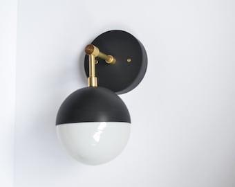 Myrtle • modern brass & black wall sconce