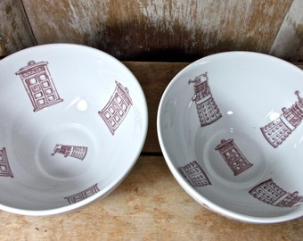 Pair of Tardis and Dalek Serving Bowls, Two Doctor Who Large Cereal Bowls, Recycled Porcelain Bowls, Phone Box, Ready to Ship