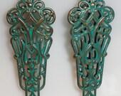 Art Nouveau Verdigris Dangle & Blue Pear Tear Drop Rhinestone Pierced Earrings