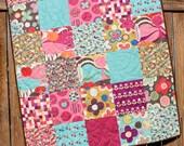 Pink Purple Aqua Baby Girl Quilt, Avant Garden, Floral, Brown, Magenta, Polka Dots, Big Prints, Crib, Nursery Bedding, Handmade Blanket Moda