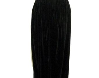 50s/60s Anne Fogarty Black Velvet Maxi Skirt - sm, med