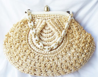 Vintage 1960's Woven Straw Frame Purse with Decorative Gold and White Chain & Hardware