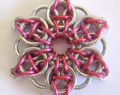 Pendant Pink Celtic Star Anodized Aluminum Chain Maille