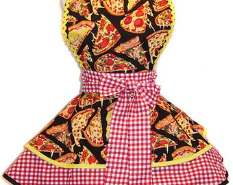 Ready To Ship ! I LOVE Pizza Retro-Influenced Diner, Pinup Style  Apron