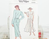 Size 14, 16, 18,  Fitted Princess seaming top & Tapered, Flared Skirt, Vogue Very Easy (9931) 1980s Vintage Sewing Pattern