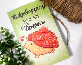 hedgehog card, anniversary card, valentines day card, couples card