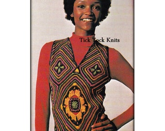 No.533 PDF Vintage Crochet Pattern For Women - Mosaic Crochet Vest - Granny Square Modular Top - 1970's Retro Boho Crochet Pattern