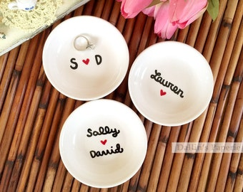 engagement ring dish personalized gift hand painted gift for the bride customized - Wedding Ring Dish