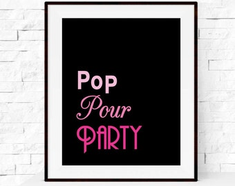 Pop Pour Party Bar Cart Print