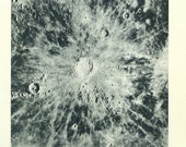1950's Moon Crater Surface, Original Vintage Astronomy Space Print