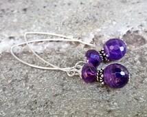 Sterling Silver Amethyst Earrings Long Dangle Earrings Gemstone Earrings Purple Earrings Amethyst Jewelry