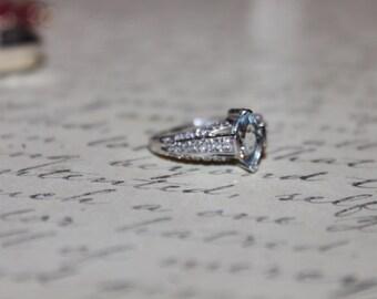 Vintage 14K White Gold & Aquamarine with Diamonds Ring, sz 6.25