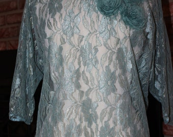 Lace tattered rose Aqua Teal Lace top Romantic xlarge